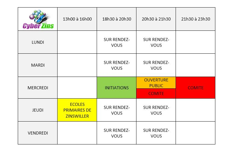 Horaires 2017/18